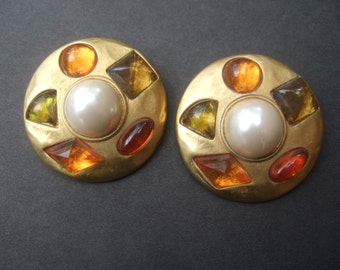 Stylish Jeweled Gilt Metal Clip on Earrings