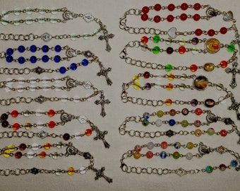 Rosary Bracelet with 6mm beads, Handmade beaded rosary bracelet, choose your color