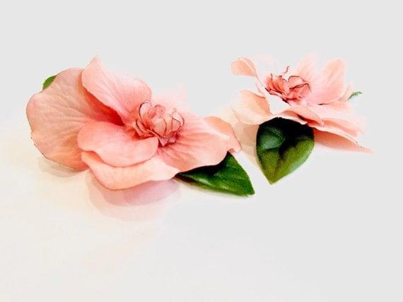 Set of Two Peach/Salmon colored handmade flower hair accessory. Pin Up Bridesmaid Hawaiian style flower. Retro Vintage Rockabilly