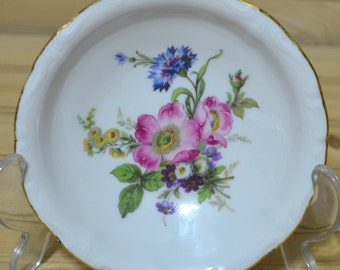 Vintage Gloria Fine Porcelain Trinket Dish Bowl Candy Bavaria Handwork Bayreuth West Germany Floral Flowers Gold Trim