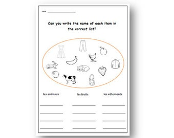 BASIC FRENCH VOCABULARY Worksheet,Primary Resources, KS2,Writing Activity,Learn Names of Animals,Fruits & Clothes in French with Worksheet