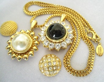 SALE NOLAN MILLER 8-Piece Pendant Necklace Set. 1 Rhinestone Pend, 1 Gold Pend, 4 Snap Cabs: Gold, Rhine., Pearl, Black.  Box Chain & Tool.