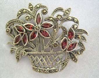 """CLEARANCE Sterling Silver Marcasite & Ruby Pink Rhinestone Vintage Brooch in form of a Woven Basket full of Flowers.  1-7/16"""" H x 1-5/8"""" W."""