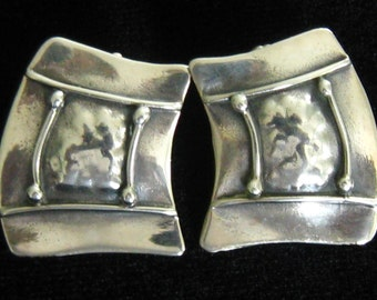 """SALE GROVES Sterling Modernist Earrings. Signed Artisan Pieces in an Abstract Geometric Brutalist Design.  1-1/8"""" x 7/8""""."""
