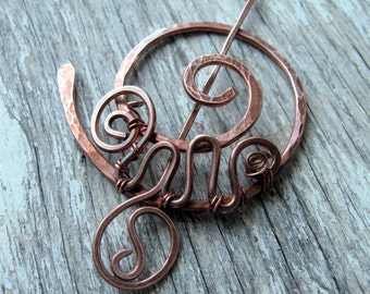 Penannular Brooch Pin, Shawl Pin, Spiral Pin, Copper Wire Wrapped Swirls, Scarf Pin, Rustic Celtic Brooch