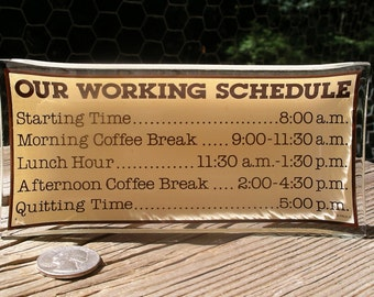 Vintage Art Glass Desk Tray - Catch-All Coffee Break Trinket Dish - Funny Work Schedule Office Novelty by Paula
