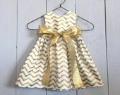 Baby Dress 0-3m, 3-6m, 6-12m, Gold and White Chevron with Gold Ribbon