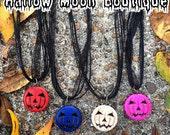 Jack O Lantern Stone Ribbon Necklace