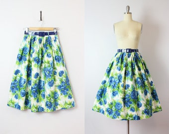 vintage 50s skirt / deadstock 1950s floral print skirt / polished cotton skirt / blue and greeen skirt / nwt nos