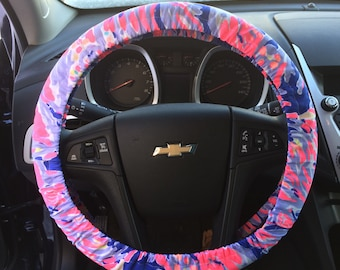 Steering Wheel Cover made with Lilly Pulitzer's Shrimply Chic fabric