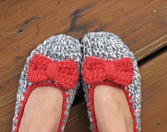 Crochet Womens Slippers - with Red Bow, Accessories, Adult Crochet Slippers, Home Shoes, Crochet Women Slippers