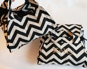 Black Chevron 8x8 Dish Tote - Black & Ivory ZigZag Stripe, FREE Shipping, Made in USA, Can be Personalized
