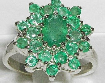 925 Sterling Silver Natural Emerald 3 Tier Ring, English Classic Vintage Design Cluster Flower Ring, May Birthstone - Customize:9K,14K,18K