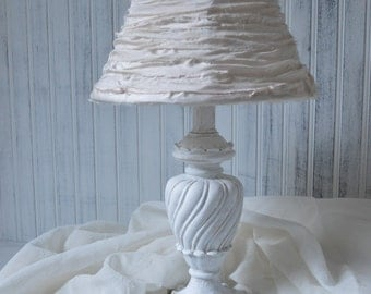 Table lamp White with Silk rag ribbon lampshade French farmhouse Cottage chic Upcyclesisters