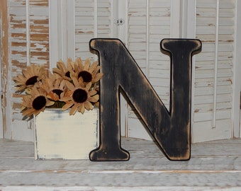 Wooden Letter N Distressed Wood letters Made To order Photo Props