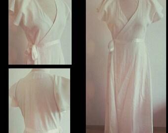MADE TO ORDER from August'16: Long linen dress, empire waist.Long  gown wrapdress bridal wedding priestess fairy hippie bohemian