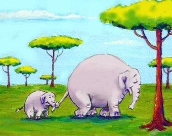 "Momma and Baby Elephant Art Print 8""x10"""
