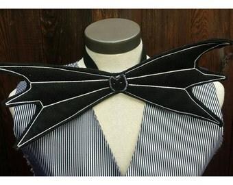 Upcycled Steampunk Clothing - Jack Skellington Bow Tie - Nightmare Berfore Christmas - Tim Burton, adjustable