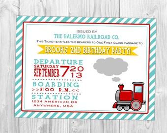 Chugga Chugga Choo Choo Party Invitation, Kid party invite
