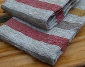 """Linen Kitchen Towels Set of 2 16 1/2""""x23 1/2"""" Natural Grey, Red and Yellow Stripped Washed Wrinkled"""