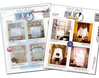 Set of 2 (cut) McCall's Home Dec in a Sec Curtain/Drape patterns 3087 and 2659