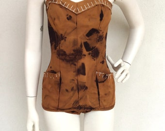 Incredible 1940's tiki tye dye swim/play suit with exposed stitch detail