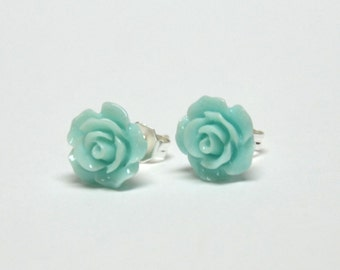 Tiny Light Blue Rose Earrings - Flower Earrings - Silver Stud Earrings - Spring Inspired Jewelry