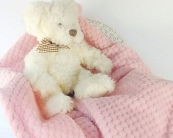 Baby Blanket, Baby's Shabby Chic Pink Fleece Crib Blanket/ Quilt/ Travel Blanket