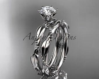 platinum diamond vine and leaf wedding ring,engagement ring set  ADLR178S