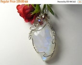 Reserved for Ruth  20% off: Natural Rainbow Moonstone Designer Cabochon wire wrapped with Argentium silver wire. (W62061)