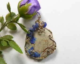 Azurite and Dolomite wire wrapped gemstone cabochon, 14kgf wire wrapped jewelry pendant, natural gemstone, polished back (W10763)