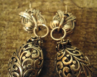 Boho Gypsy One Silvertone Ornate Drop Earrings, Pierced