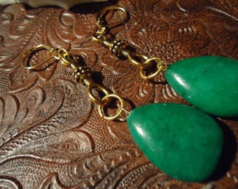 Boho Gypsy One Of A Kind Emerald Colored Drop Dangle With Gold Accents Earrings