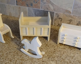 Nursery - Wooden Dollhouse Furniture Hand Crafted