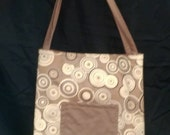 Brown Circles Activity Bag with a Ton of Activities Included.  Cotton with 2 Long Carry Straps, Large Pockets, Batting, Super Soft, FUN!!