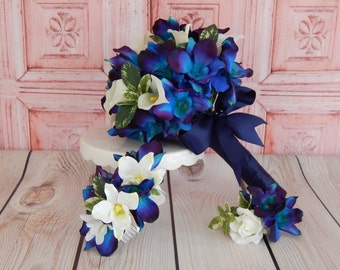 Blue Orchid Wedding Bouquet- Calla Lily Bridal Bouquet-Boutonniere- Made to Order
