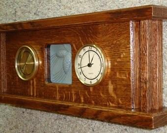 Handmade Arts & Crafts desk or mantle clock with Gingko tile inset