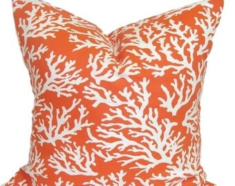 ORANGE PILLOW.Pillow Cover.Decorative Pillow Cover.Beach Decor.Orange Throw Pillow. Nautical Pillow.Cushion. Outdoor Pillow, 18x18 inch