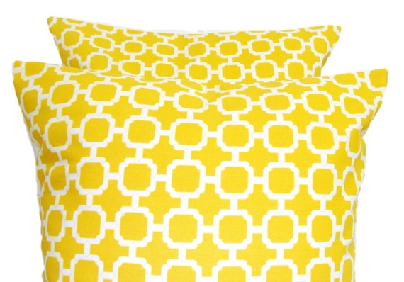 YELLOW PILLOW SET of Two.20x20 inch.Pillow Covers.Decorative Pillows.Housewares Covers.Indoor Outdoor.Bright Yellow Cushions.Yellow Outdoor