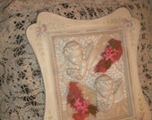 Stunning Romantic OOAK Wall Hanging, Lefton, Cherubs, Valentine's Day, Shabby Chic, French Country, French