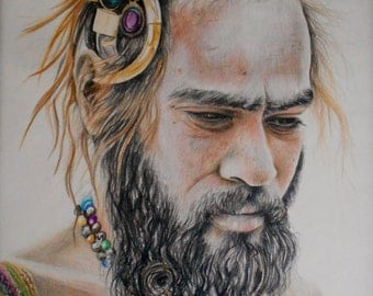 Indigenous Man, print of colored pencil portrait by Jennifer Doehring