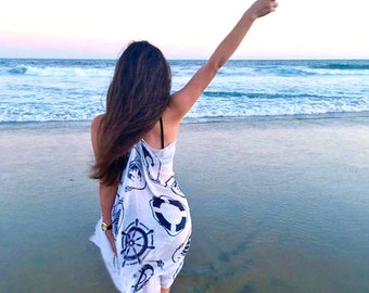 Beach coverup coverups, beach poncho, summer dress, swim swimsuit coverup, bathing suit coverup, anchor print, summer finds, gifts for women