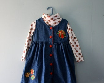 ON SALE Vintage Christmas Denim Jumper Dress and turtleneck sweater / Blue, red, and white holiday pinafore dress size 5/6