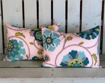 Set of 2 lumbar 12x16 teal aqua turquoise p. Kaufman outdoor/indoor fabric decorative pillow cover-gifts under 40-throw pillow