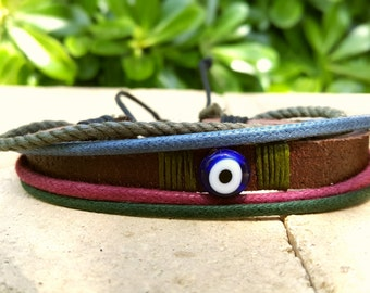 Mens Leather Bracelet with Amulet, Brown Braid, Leather Bracelet Stylish.