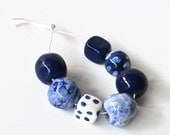 Art Beads, African beads, handmade African beads, clay beads, blue beads, white beads, earthbutter beads, made in Africa
