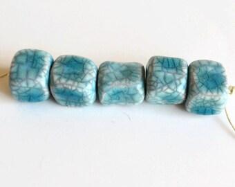 Ceramic beads, African Beads, 8 cube Beads, handmade beads from Africa, cubes, ceramic cubes, turquoise beads,  8 raku beads, aqua beads