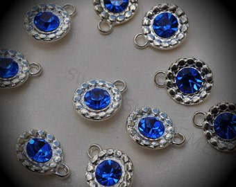 Genuine Silver Plated Swarovski Crystal  Daisy Flowers Charms In Sapphire