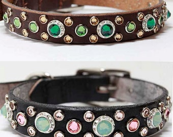 "Design Your Own Swarovski Crystal Dog Collar, 3/4"" Wide Leather Dog Collar"