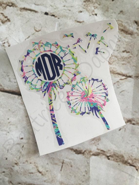 Items Similar To Dandelions Yeti Monogram Decal Flower